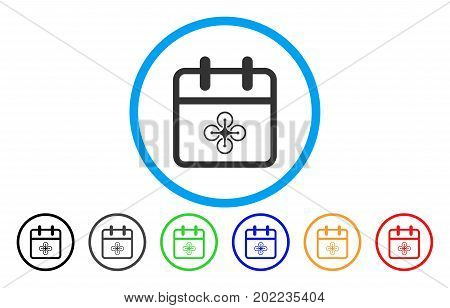 Drone Day vector rounded icon. Image style is a flat gray icon symbol inside a blue circle. Additional color versions are grey, black, blue, green, red, orange.