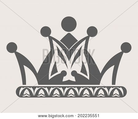 Crown royal heraldic symbol of imperial queen diadem or king tiara with ornate pattern ornament. Vector isolated outline silhouette crown icon on white background
