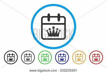King Day vector rounded icon. Image style is a flat gray icon symbol inside a blue circle. Bonus color versions are gray, black, blue, green, red, orange.
