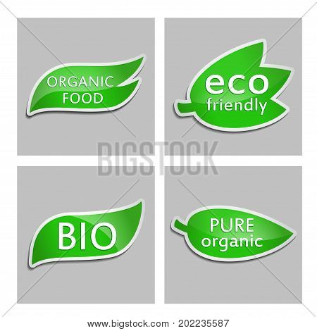 Green sticker Eco friendly Bio Pure organic Organic food. Set. Vector Natural product icon for packaging design web-design booklets logo creation design. Organic natural cosmetic and food label