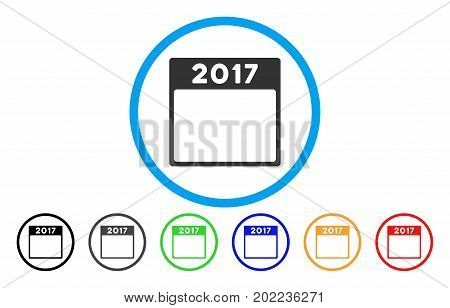 2017 Year Calendar Template vector rounded icon. Image style is a flat gray icon symbol inside a blue circle. Additional color versions are gray, black, blue, green, red, orange.