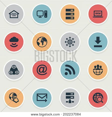 Elements Letter, Wireless Connection, Teamwork And Other Synonyms Envelope, Download And Finger.  Vector Illustration Set Of Simple Network Icons.
