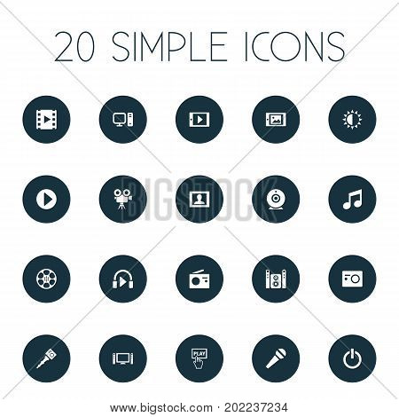 Elements Musical Note, Picture, Begin And Other Synonyms Camera, Multimedia And Start.  Vector Illustration Set Of Simple Multimedia Icons.