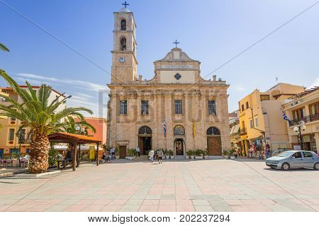 CHANIA, GREECE - APRIL 3, 2017 : Greek Orthodox Cathedral of the Trimartyri in the old town of Chania on Crete. Chania is the second largest city of Crete and the capital of the Chania regional unit.