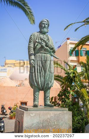 CHANIA, GREECE - APRIL 3, 2017 : The statue of chieftain and freedom fighter Anagnostis Mantakas (1817-1916) on the street of Chania - Crete, Greece.
