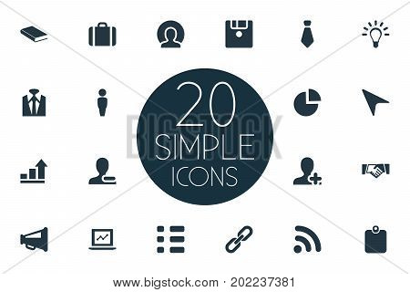 Elements Remove Cantact, Worldwide Success, Innovation And Other Synonyms Loudspeaker, Signal And Agreement.  Vector Illustration Set Of Simple Team Icons.