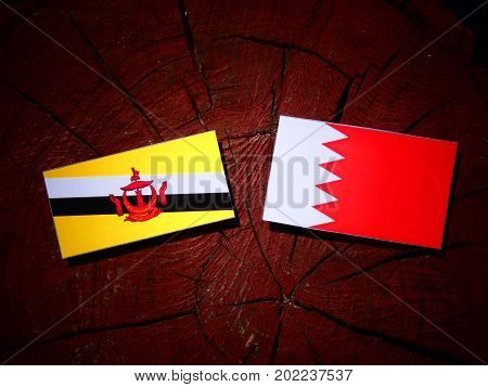Brunei Flag With Bahraini Flag On A Tree Stump Isolated