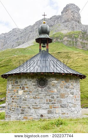 Klausen pass Switzerland - 3 August 2017: The chapel on the pass of Klausen on the Swiss alps
