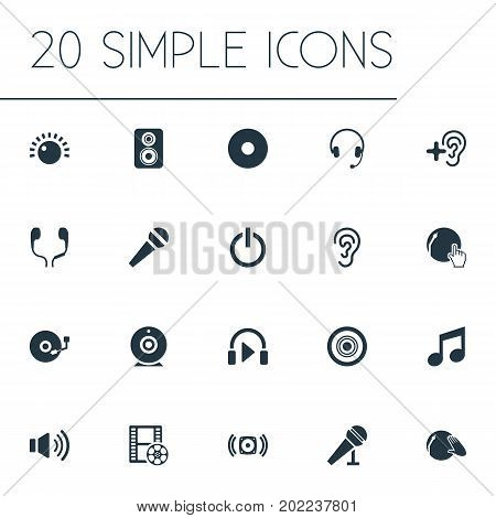 Elements Mike, Camera, Headset And Other Synonyms Mike, Earphone And Partymaker.  Vector Illustration Set Of Simple Play Icons.