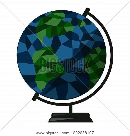 Globe isolated on white world planet earth map geography global sphere symbol vector illustration. Ecology globe design element round ball.