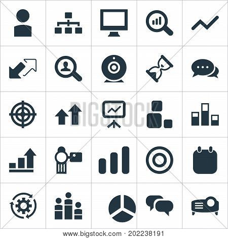 Elements Construction, Camera, Profile And Other Synonyms Organisation, Screen And Video.  Vector Illustration Set Of Simple Seminar Icons.