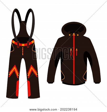 Skier clothing and accessories for winter fun outdoors isolated over white background vector illustration. Outdoors protective clothes snowboard active jacket equipment.