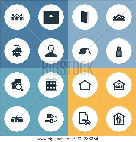 Elements Trade, Cottage, Building And Other Synonyms Roof, Service And Key.  Vector Illustration Set Of Simple Estate Icons.