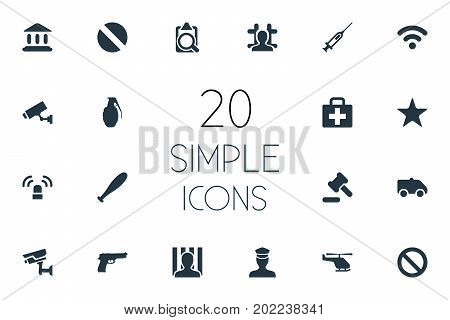 Elements Narcotic, Vaccine, File And Other Synonyms Document, Court And Ban.  Vector Illustration Set Of Simple Offense Icons.