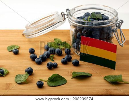 Bolivian Flag On A Wooden Plank With Blueberries Isolated On White