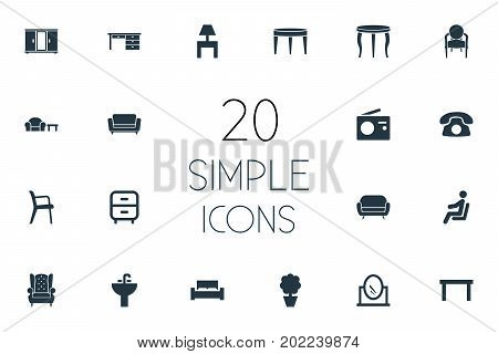 Elements Office Interior, Plant, Trestle And Other Synonyms Radio, Conference And Bedstead.  Vector Illustration Set Of Simple Furniture Icons.