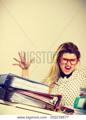 Angry Mad Bossy Businesswoman Being Furious