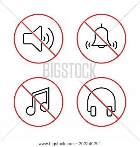 No Sound, Keep Silence Signs Set On White Background