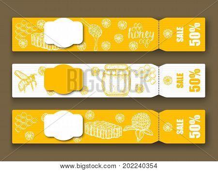 Hand drawn honey flyer templates. Vector illustration