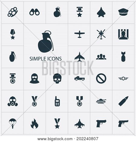Elements Flame, Arm Brass, Trophy And Other Synonyms Punch, Respirator And Bomber.  Vector Illustration Set Of Simple Battle Icons.