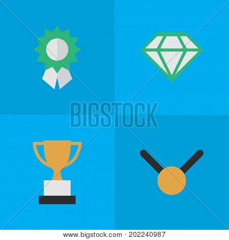 Elements Gemstone, Reward, Medal And Other Synonyms Trophy, Gold And Precious.  Vector Illustration Set Of Simple Reward Icons.
