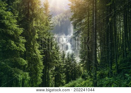 The Krimml Waterfalls in the High Tauern National Park, the highest waterfall in Austria
