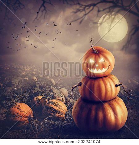 Pumpkin man in the field
