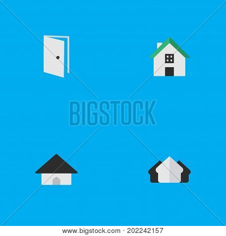 Elements Base, Home, Entry And Other Synonyms Door, Entry And Home.  Vector Illustration Set Of Simple Estate Icons.