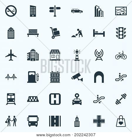 Elements Kiosk, Direction, Digging Worker And Other Synonyms Tower, Auto And Megapolis.  Vector Illustration Set Of Simple Architecture Icons.