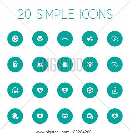 Elements Vetirinary, Setting, Lovers And Other Synonyms Emotion, Music And Heartbreak.  Vector Illustration Set Of Simple Valentine Icons.