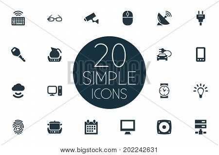 Elements Bulb, Teapot, Desktop And Other Synonyms Cloud, Teapot And Thumbprint.  Vector Illustration Set Of Simple Web Icons.