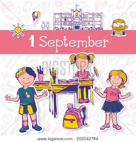 Vector illustration for  holiday 1 september. Girls and boy on abstract background. Illustration drawing in sketch style