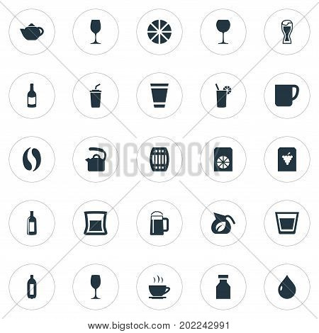 Elements Wineglass, Pub, Tumbler And Other Synonyms Citrus, Cappuchino And Beverage.  Vector Illustration Set Of Simple Beverage Icons.
