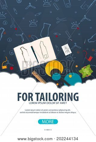 Tailor And Seamstress Banner. Sewing Kit. Needlework, Handmade. Dressmaking Concept.