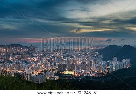 Top View From The Kowloon Peak, Sunset Onver Kowloon And Hong Kong Sky.