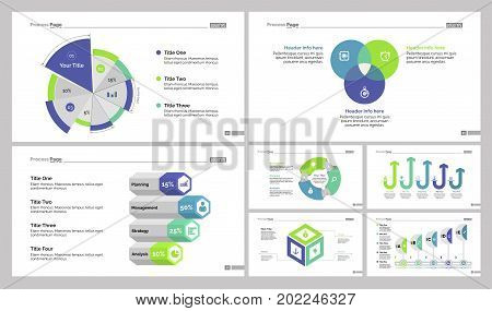 Infographic design set can be used for workflow layout, diagram, annual report, presentation, web design. Business and analytics concept with process, pie, Venn and percentage charts.
