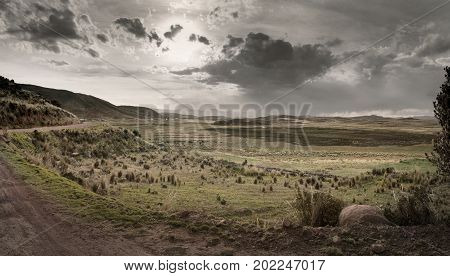 Late afternoon over the agricultural landscape near Lake Titicaca, Southern Peru  