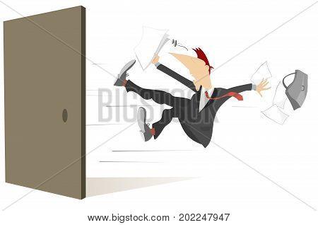 Young man flies out from the open door isolated. Man with bag and documents flies out from the open door