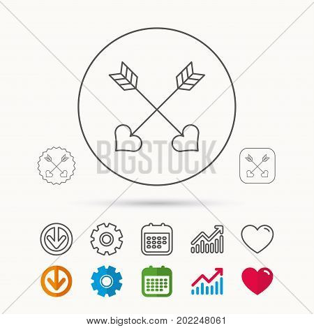 Love arrows icon. Amour equipment sign. Archer weapon with hearts symbol. Calendar, Graph chart and Cogwheel signs. Download and Heart love linear web icons. Vector