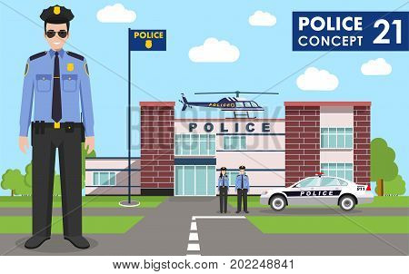 Detailed illustration of police department police car police officer police helicopter policewoman and policeman in flat style on blue background.