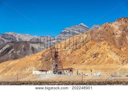 View of an abandoned mine in Death Valley National Park in California