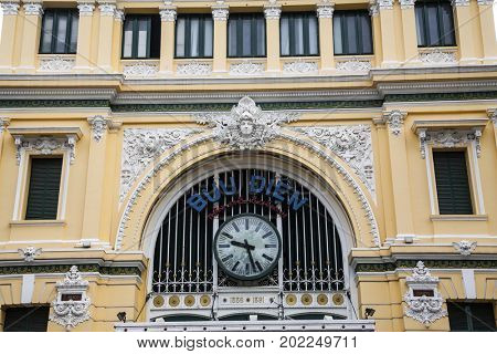 Ho Chi Minh City, Vietnam - March 27, 2017: Saigon Central Post Office, built by the French in 1886, now a popular tourist attraction in Ho Chi Minh city, Vietnam.