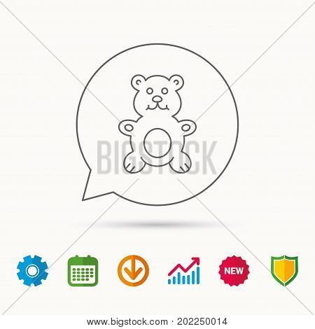 Teddy-bear icon. Baby toy sign. Plush animal symbol. Calendar, Graph chart and Cogwheel signs. Download and Shield web icons. Vector