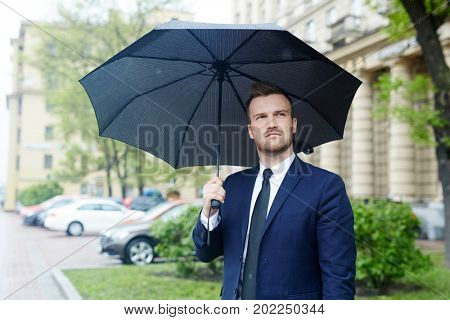 Young well-dressed man standing in the street with black umbrella