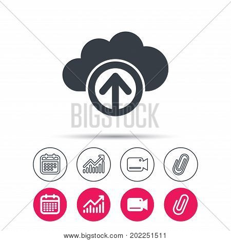 Upload from cloud icon. Data storage technology symbol. Statistics chart, calendar and video camera signs. Attachment clip web icons. Vector