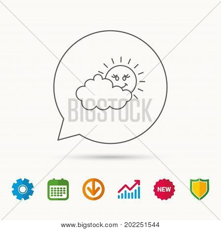 Cloudy day with sun icon. Overcast weather sign. Meteorology symbol. Calendar, Graph chart and Cogwheel signs. Download and Shield web icons. Vector