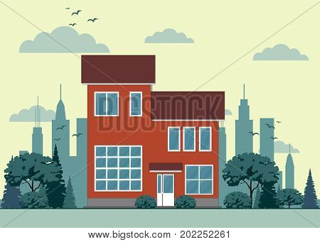House front view . Stock flat vector illustration.