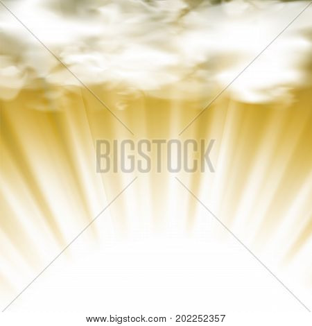 Summer Hot Sun Background with Clouds and Wave Blurred Rays