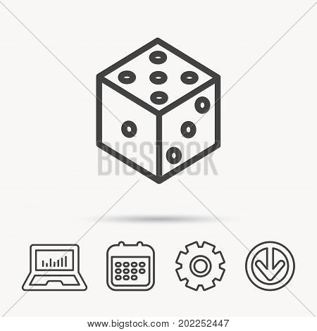 Dice icon. Casino gaming tool sign. Winner bet symbol. Notebook, Calendar and Cogwheel signs. Download arrow web icon. Vector