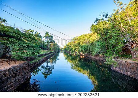 Artificial pond belonging to Sigiriya ruin archeological site